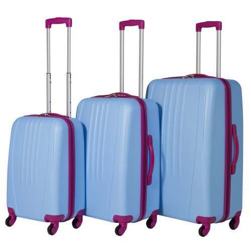 Swiss Case 4 Wheel Bold 3Pc Suitcase Set - Blue / Pink