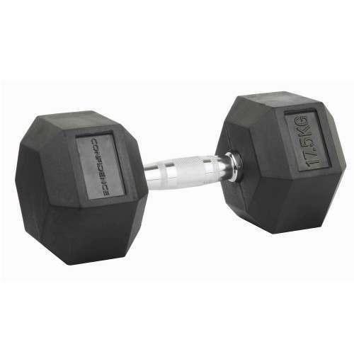 Confidence Fitness 17.5kg Rubber Hex Dumbbell