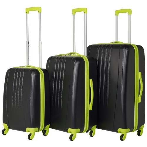 Swiss Case 4 Wheel Bold 3Pc Suitcase Set - Black / Neon