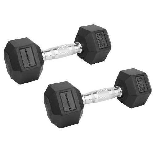 Confidence Fitness 6kg Rubber Hex Dumbbell Set