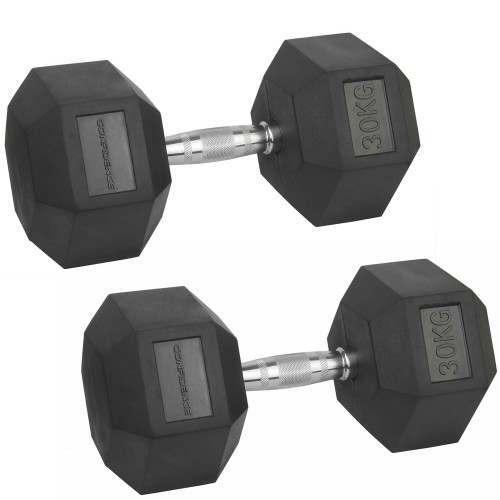 Confidence Fitness 30kg Rubber Hex Dumbbell Set