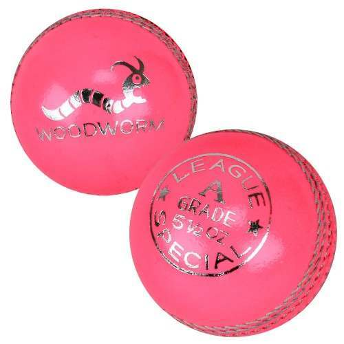 6 x Woodworm League 5 1/2oz Cricket Balls - Pink