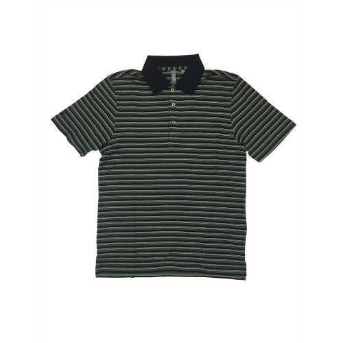 Ashworth Golf Mens Black / Green Stripe Polo Shirt - Black Medium