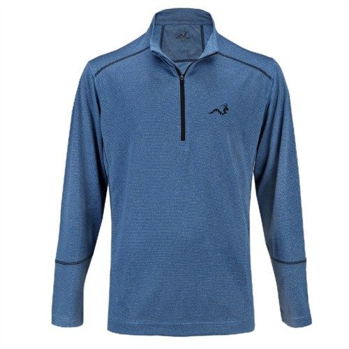 Woodworm Golf Heather Stitch Striped Pullover - Blue