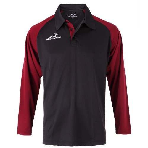 Woodworm Pro Cricket Long Sleeve Shirt Maroon