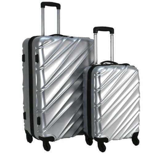 Swiss Case 4 Wheel Wave 2Pc Suitcase Set - Silver