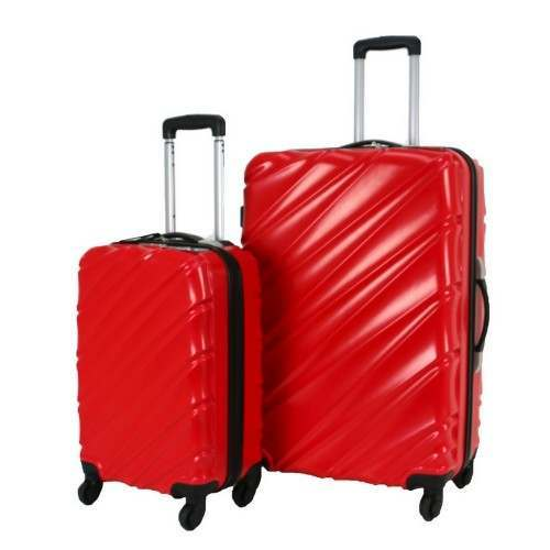 Swiss Case 4 Wheel Wave 2Pc Suitcase Set - Red