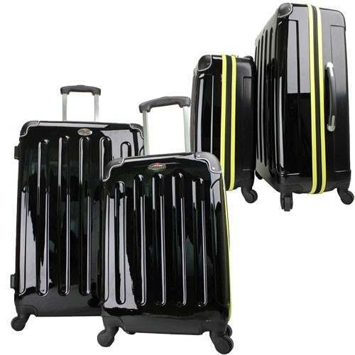 Swiss Case 4 Wheel EZ2C 2Pc Suitcase Set Black / Fluvo