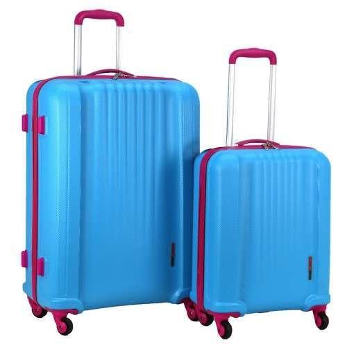 Swiss Case 4 Wheel EZ2C 2Pc Suitcase Set - Blue / Pink
