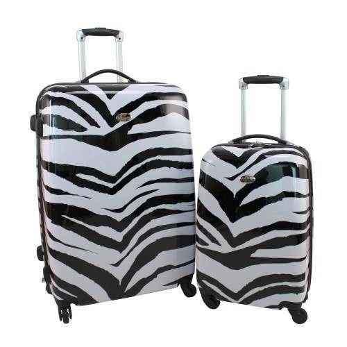 Swiss Case 4 Wheel 2Pc Hard Suitcases Zebra