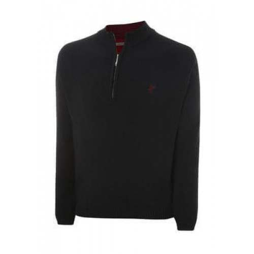 Ashworth Mens Solid Half-Zip Sweater - Black