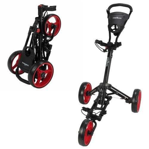 Caddymatic Golf X-Lite One-Click Folding Pull/Push Golf Trolley Black/Red