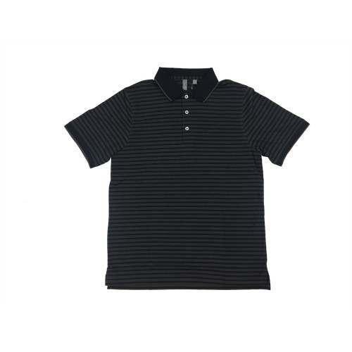 Ashworth Golf Mens Black w/Grey Stripes Polo Shirt - Black Medium