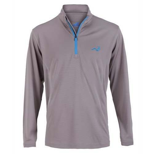 Woodworm 1/4 Zip Golf Pullover - Grey / Sky Blue