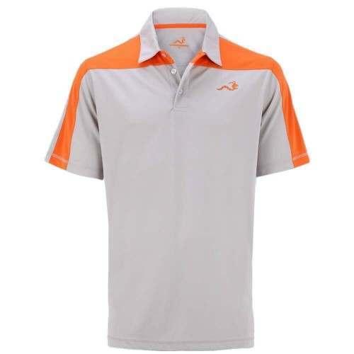 Woodworm Golf Block Panel Golf Polo Shirt - Beige/Orange