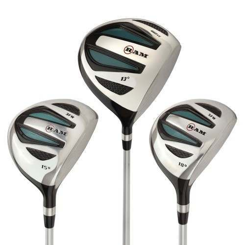Ram Golf EZ3 Ladies 1 Inch Shorter Wood Set inc Driver, 3 Wood and 5 Wood - Headcovers Included - Graphite Shafts