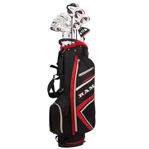 Ram Golf Accubar 16pc 1 Inch Longer Golf Clubs Set - Graphite Shafted Woods, Steel Shafted Irons - Mens Right Hand