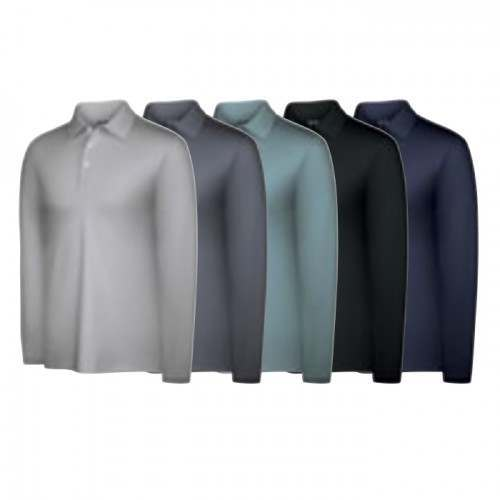Adidas Mens Climalite Warm Long Sleeve Textured Polo