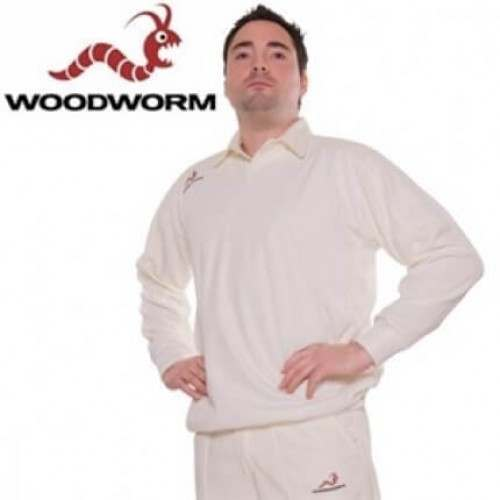Woodworm Cricket Long Sleeve Men's Sweater White