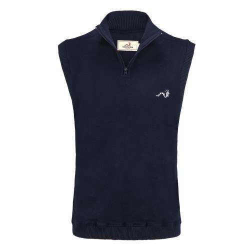 Woodworm Sleeveless Sweater Vest with Zip - Navy
