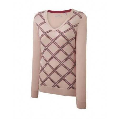 Ashworth Ladies Bias Plaid Sweater - Petal
